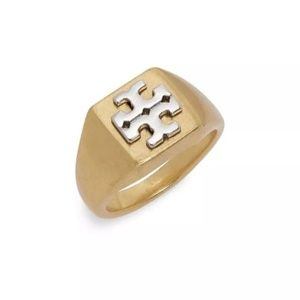 NEW Tory Burch Block-T Logo Gold Ring Size 6